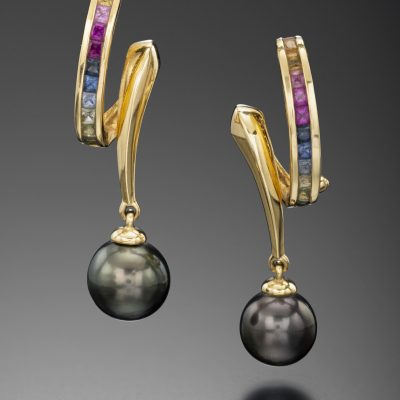 Yellow Gold Black Pearl Earrings | Arnold & Co Jewellers Canberra